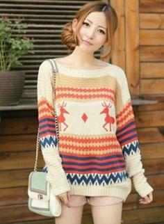Brown Sweater - X'mas Deer Bat Sleeve Sweater