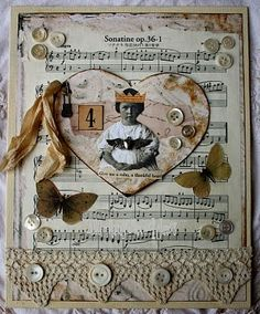 Altered book - hearts - music, little girl, lace & buttons.
