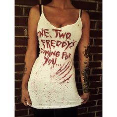 Freddy Kruger nightmare on elm street horror bloody tank top or fitted tshirt, halloween gore, small,med or large. ($22) found on Polyvore