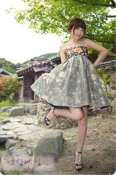Short hanbok dress • Devotion. It is a fusion Korean dress that looks youthful to put the gorgeous  pattern.