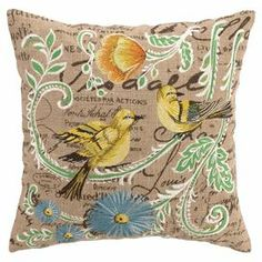 """Showcasing an elaborate collage of embroidery and script, this hemp pillow is lovely on its own or as part of a garden-inspired vignette.   Product: PillowConstruction Material: 100% Hemp cover and polyester fillColor: Yellow and multiFeatures:  Insert includedEmbroidered details Dimensions: 16"""" x 16""""Cleaning and Care: Spot clean"""