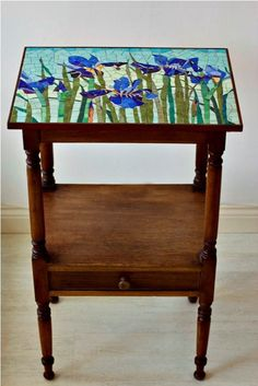 'Iris' Mosaic Antique Table Top by Olive Stack