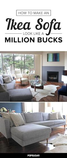 A Simple Hack That Makes an Ikea Sofa Look Like a Million Bucks - replace the legs!