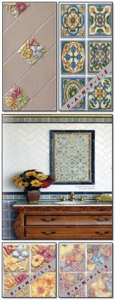 Fiesta Rose Ceramic Tiles By Cobsa, Italy (Floral, Fruit, Decor).