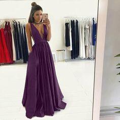 Long Blue A-line V-Neck Sleeveless Zipper Prom Dresses 2020 Dark Purple Prom Dresses, Grad Dresses Long, V Neck Prom Dresses, Prom Dresses 2017, Ball Dresses, Ball Gowns, Formal Dresses, Purple Dress Outfits, Bridesmaid Dresses