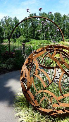The Garden Conservancy - Portland Area Open Day, garden art, garden orb, steel Outdoor Sculpture, Outdoor Art, Outdoor Gardens, Garden Sculptures, Landscape Art, Landscape Design, Garden Art, Garden Design, Metal Yard Art