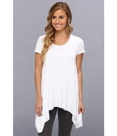 Lysse Short Sleeve Drape Top w/ Inner Control Tank White - Zappos.com Free Shipping BOTH Ways
