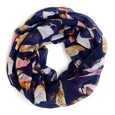 Women's Navy Combo Polyester Bird Print Infinity Scarf by Sole Society