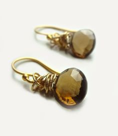 Tidal Earrings with Whisky Topaz Wire Wrapped with by FlowDesigns