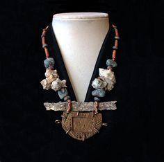 asymmetrical petrified coral pendant unique handmade
