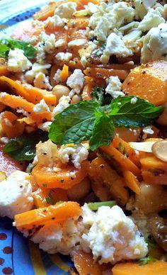 Moroccan-Spiced Carrot and Chickpea Salad ~w. feta, parsley, mint, almonds, orange, lemon.