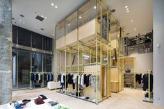 schemata architects installs plastic scaffolding in en route ginza