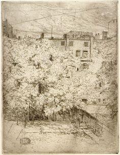 """My Backyard, No. etching, print on paper. American Impressionism, Monet, American Art, Art History, Art Museum, Vintage World Maps, Poster Prints, Backyard, Fine Art"
