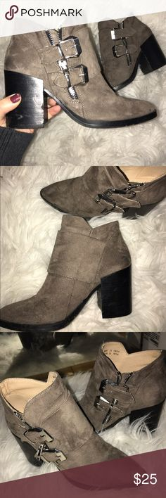 Forever 21 chunky heel bootie These suedette chunky heel booties are chic and adorable! Two buckles cover the front and side zipper. The heel is around 3.5 in. So they're not bad to walk in at all. I've worn them a handful of times but since the toe is so pointy, they're a big snug on me. I'm a 6.5 and usually can wear a 6 but  not these! I wish I could wear them 😭 Forever 21 Shoes Ankle Boots & Booties