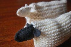 Simple pattern to make sheep out of a knitted or crocheted square, a little felt, and some stuffing. Great learn-to-knit project