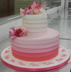 Originally a Mother's Day cake, but the ombre effect could work beautifully on a wedding cake!