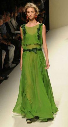 Abito lungo verde Alberta Ferretti