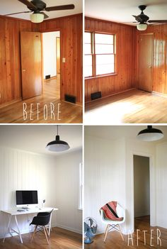 painted wood panelling - before and after - if we leave the wood paneling and pa.painted wood panelling - before and after - if we leave the wood paneling and pa.Home Wall Ideas Wood Paneling Makeover, Painting Wood Paneling, Paneling Ideas, Wood Paneling Decor, Painted Wall Paneling, Painted Pine Walls, Cover Wood Paneling, Painting Furniture, White Wood Paneling