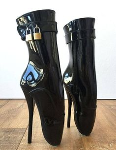 Fetish Ballet Pinup Double Padlock Lockable Role Play Slave Patent Ultra High Heels Boot Costumes >>Click-picture-for-details<< Extreme High Heels, Platform High Heels, Black High Heels, High Heels Stilettos, High Heel Boots, Heeled Boots, Stiletto Heels, Shoe Boots, Shoes Heels