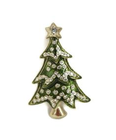Christmas Tree Brooch Monet Rhinestone by LeesVintageJewels
