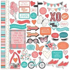 Photo Paper - Like a Girl Collection - Carton Stickers - Elements - Fabric Crafts for Diy and Crafts Paper Bag Scrapbook, Scrapbook Stickers, Scrapbook Supplies, To Do Planner, Happy Planner, College Planner, School Planner, Teacher Planner, 3d Cuts