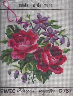 Vintage Needlepoint Rose Stamped Canvas and by VictorianWardrobe, $9.99