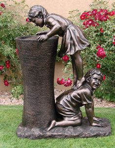 Image detail for -Large garden water fountain showing boy helping girl get a drink from ...
