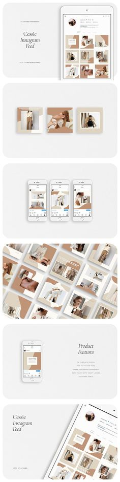 CESSIE Instagram Feed by Aprilea on @creativemarket Best Instagram Stories, Free Instagram, Instagram Feed, Instagram Posts, Instagram Design, Social Media Template, Social Media Design, Instagram Promotion, Envato Elements