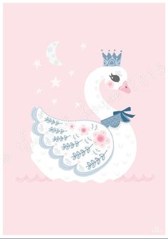 SWAN LARGE PRINT, A3 Large Swan Illustration, Nursery Room Decor, Wall Art, kids, children's, pink, swan lake