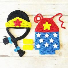 Crochet Baby Wonder Woman Costume Set Romper Hat Beanie Arm Cuffs Handmade Baby Shower Gift Photography Prop Available from Newborn to 24 Months. Includes every