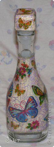 Itens de decoração Decoupage cracelures garrafas Mais garrafas de vidro decoupage Guardanapos Pintura Foto 7