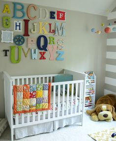 Alphabet letters in bright colors and patterns are the perfect way to jazz up a wall.