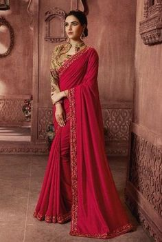 Georgette Embroidered Sari in Maroon Color Wedding Sarees Online, Saree Wedding, Wedding Wear, Sari Blouse, Fancy Sarees, Party Wear Sarees, Plain Saree, Maroon Dress, Maroon Saree