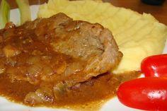 Výpečky na smažené cibuli, hrubozrnné hořčici a medu 20 Min, Pork, Beef, Treats, Chicken, Cooking, Kale Stir Fry, Meat, Sweet Like Candy
