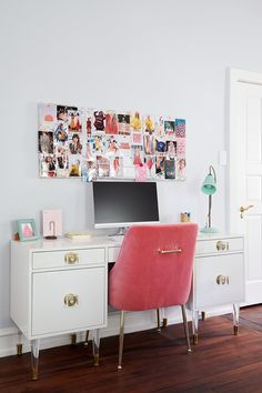 11 Stunning Home Offices With Feminine Desks. Big pretty work spaces that appeal to people looking for pretty desks. Office Space Decor, Home Office Design, Office Spaces, House Design, Eclectic Wallpaper, Home Goods, Interior Design, Interior Decorating, Architecture