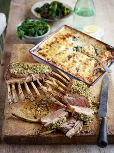 Jamie Oliver's French-trimmed rack of lamb French Rack Of Lamb Recipe, Easy Delicious Recipes, Yummy Food, Jamie Oliver Comfort Food, Comte Cheese, Lamb Recipes, 30 Minute Meals, The Dish, Tray Bakes