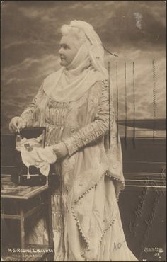 """Romanian Queen Elisabeth of Wied in what appears to be a medieval costume. Elisabeth was a writer under the pen name """"Carmen Sylva"""" Elisabeth I, Medieval Costume, Queen Mary, Kaiser, Eastern Europe, Wwi, My Father, Romania, Royals"""
