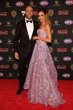 They are the queen bee WAGS of the AFL. And Rebecca Judd and Jesse Murphy [née Habermann] stunned in bright strapless gowns as they arrived at the Brownlow M Rebecca Judd, Strapless Dress Formal, Formal Dresses, Red Carpet Dresses, Purple Dress, Formal Wear, New Outfits, Gowns, Celebrities