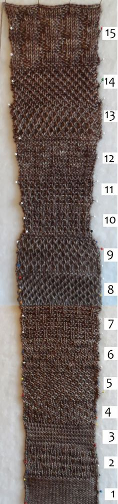 """Same yarn, same number of stitches, different stitch patterns. Why aren't you swatching more? Here, indie designer Laura Aylor shows the test she did for 15 textured stitches (some of them her own improvs) before settling on one for her cardigan """"Pebble."""""""