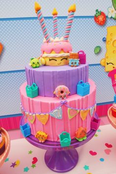 Dive into the world of Shopville where Shopkins are all around! At Kara's Party Ideas we have the cutest Shopkins Birthday Party with a Shopkins cake too! Bolo Shopkins, Fete Shopkins, Shopkins Birthday Cake, Birthday Cakes, 9th Birthday Parties, Birthday Fun, Birthday Ideas, Colorful Birthday, Pastel Shopkins