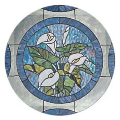 """Calla Lilies Stain Glass Look Dinner Plate. #zazzle  Size: 10"""" diameter Vibrant, full-color printing Drop and break resistant"""