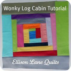 Wonky Rainbow Cabins Quilt Block Tutorial