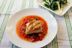 Halibut in Artichoke and Tomato Sauce