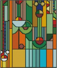 Frank Lloyd Wright Inspired 5 Cross Stitch Pattern by ASavageTwist