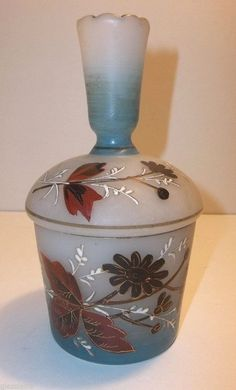 Vintage CZECH Satin Glass POWDER Jar Trinket BOX Enamel Flowers