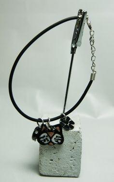 bracelet chat noir et blanc avec coeur bracelet avec breloques chat