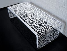 A table and a bench in one is a one great furniture for every home with limited space. Versatile furniture like The Coral Table and Bench is what they need to have the furniture that they need to have without adding to the clutter to their homes. Laser Cut Metal, 3d Laser, Cnc Plasma, Plasma Cutting, Laser Cut Patterns, Metal Screen, Bench Designs, Modern Bench, 3d Prints