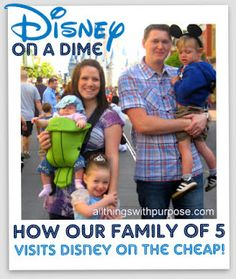 on a Dime: Doing Disney Cheap (On a Salary) All Things With Purpose: Disney on a Dime: Part 1 {Great Tips to Save Money on Your Disney Vacation!}All Things With Purpose: Disney on a Dime: Part 1 {Great Tips to Save Money on Your Disney Vacation! Viaje A Disney World, Disney World Vacation, Disney Vacations, Dream Vacations, Vacation Trips, Vacation Ideas, Family Vacations, Family Trips, Vacation Savings