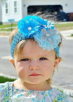 baby hair bow...hairbow..Pretty turquoise flower clip with butterfly great hair bow  for newborn, infant, and little girls...baby bow. $13.99, via Etsy.