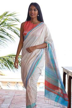 Urban Drape Mediterranean Sands Saree Indian Skin Tone, Saree Jewellery, Stylish Sarees, Work Wardrobe, Cotton Saree, Saree Blouse, Indian Beauty, Sands, Photoshoot